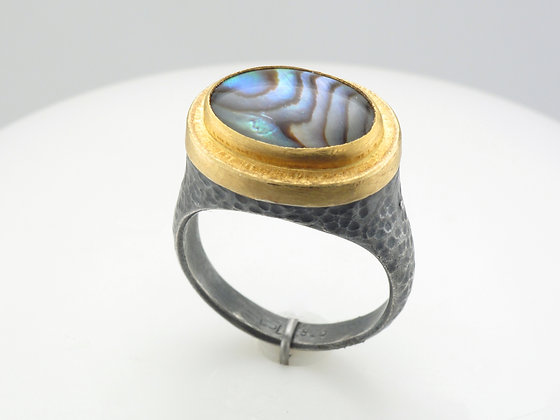 Abalone Ring, Sterling Silver with 24k Top