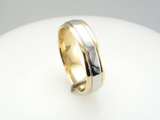 Two-Tone Band, 18k Yellow Gold & Platinum