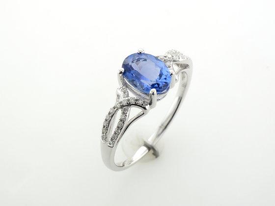 Tanzanite & Diamonds, 14k White Gold Ring