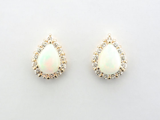 Opal & Diamond Halo Stud Earrings, 14k Yellow Gold
