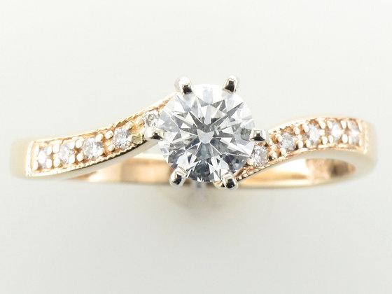 0.53ctw Round Cut Diamond Engagement Ring, 14k Yellow Gold