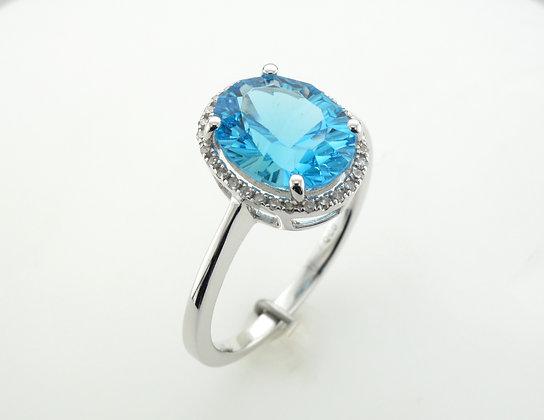 Blue Topaz & Diamonds, 14k White Gold Ring