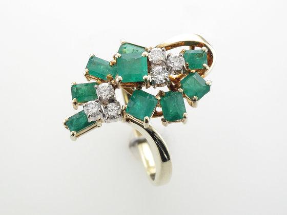 Emeralds & Diamonds Fashion Ring, 14k Yellow Gold