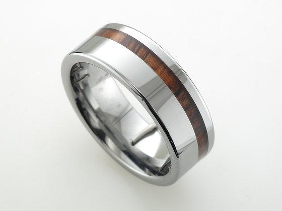Tungsten Band, Offset Zebra Wood Inlay, 8mm