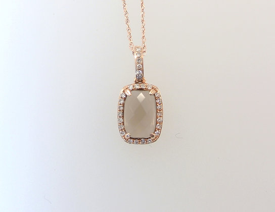 14k Rose Gold, Smokey Quartz, and Diamond Melee Pendant with Chain