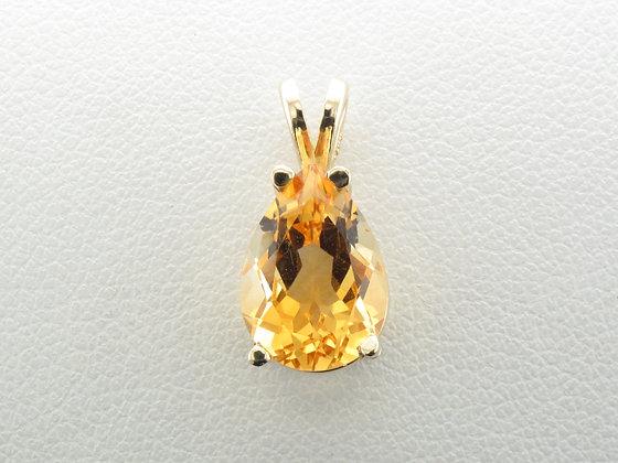 Citrine Pendant, 14k Yellow Gold
