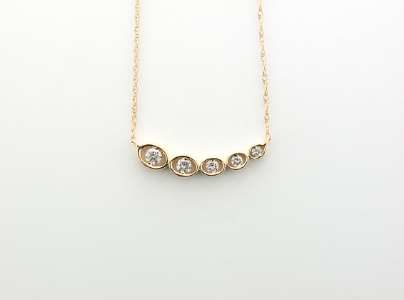 0.25ctw Diamond Pendant w. Chain, 14k Yellow Gold