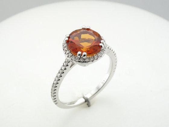 Citrine & Diamonds, 14k White Gold Ring