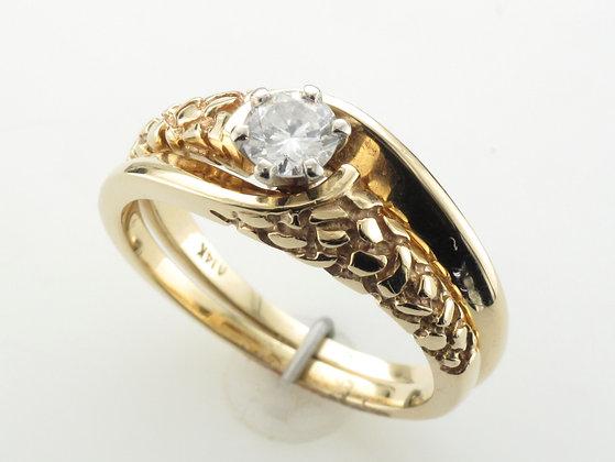 0.33ct Round Cut Diamond Engagement Ring, 14k Yellow Gold