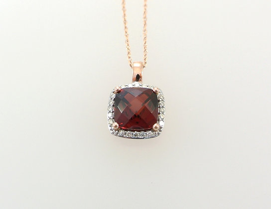 14k Rose Gold, Garnet, and Diamond Melee Pendant with Chain