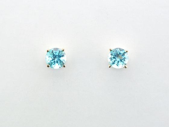 Blue Topaz Earrings, 14k Yellow Gold, Friction Backs