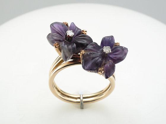 Amethyst Flower & Diamond Ring, Sterling Silver