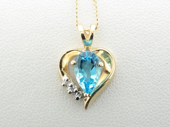 Topaz & Diamond Pendant, 14k Yellow Gold