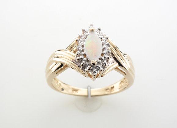 Opal & Diamond Fashion Ring, 10k Yellow Gold