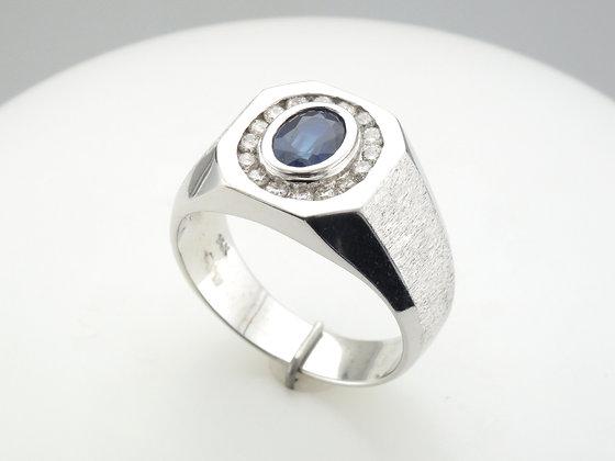 Sapphire & Diamond Men's Ring, 14k White Gold
