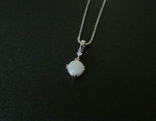 Opal & Diamond, 14k White Gold Pendant