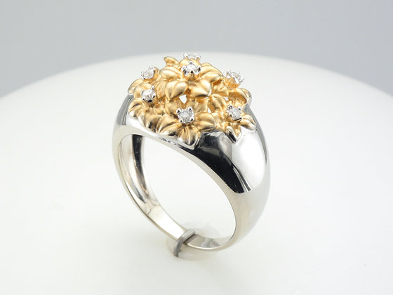 0.10ctw Diamond Flower Fashion Ring, 14k Two Tone Gold