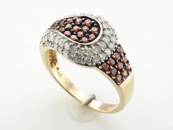 1.00ctw Orange & White Diamond Fashion Ring, 14k Yellow Gold