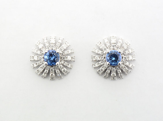 Tanzanite & Diamond Stud Earrings, 14k White Gold