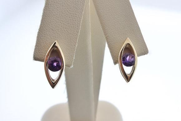Amethyst Earrings, 14k Yellow Gold, Friction Backs