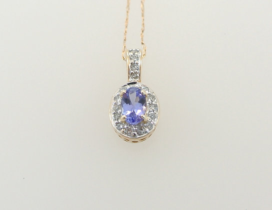 14k Yellow Gold, Tanzanite, and Diamond Melee Pendant with Chain