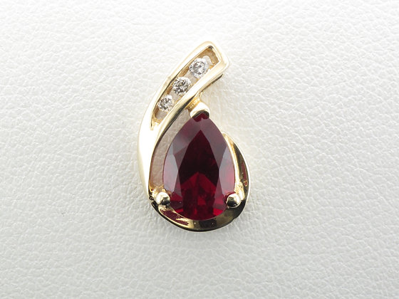 Lab Ruby & Diamond Pendant, 10k Yellow Gold
