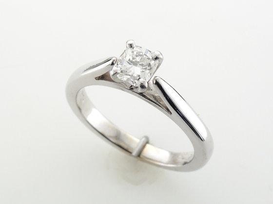 0.50ctw Cushion Cut Diamond Engagement Ring, 14 Karat White Gold