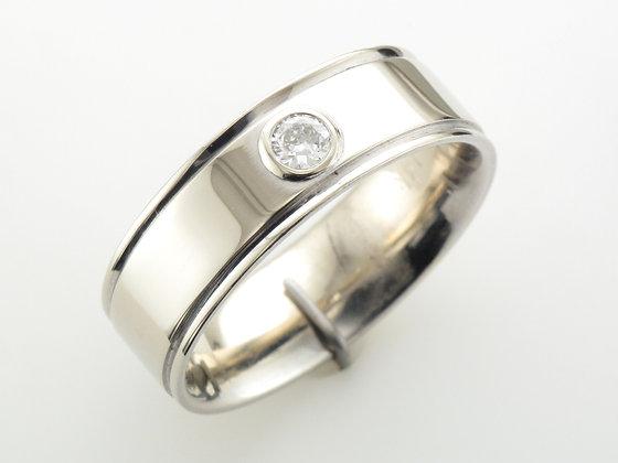0.15ct Men's Diamond Ring, 14k White Gold