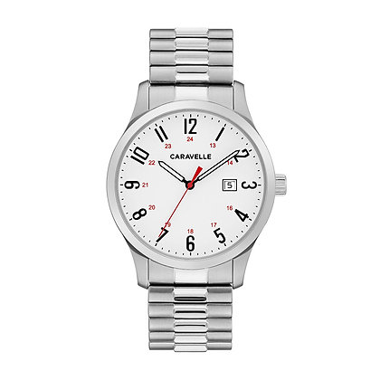 Caravelle Men's Easy Reader Stainless Steel Expansion Watch 43B153
