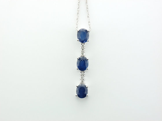 Sapphires & Diamond Pendant, 14k White Gold
