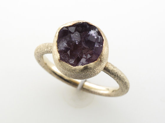 Amethyst Crystal Ring, Sterling Silver, Size 6