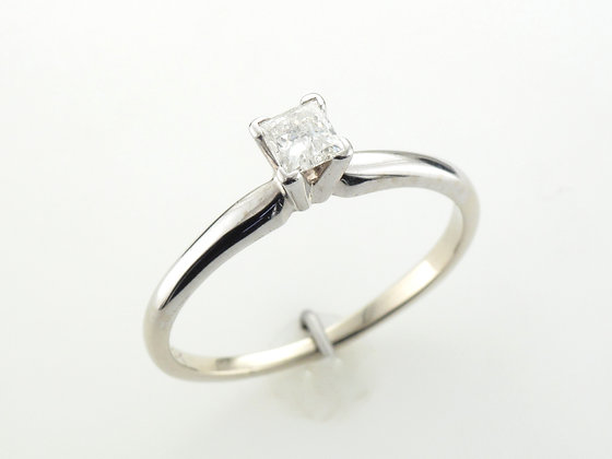 0.33ct Princess Cut Diamond Solitaire Ring, 14 Karat White Gold