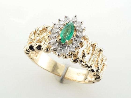 Emeralds & Diamonds Fashion Ring, 10k Yellow Gold