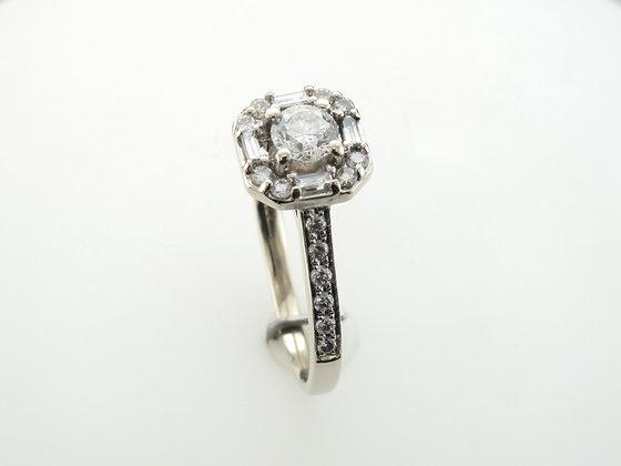 0.39ct  Round Diamond Engagement Ring, 14 Karat White Gold