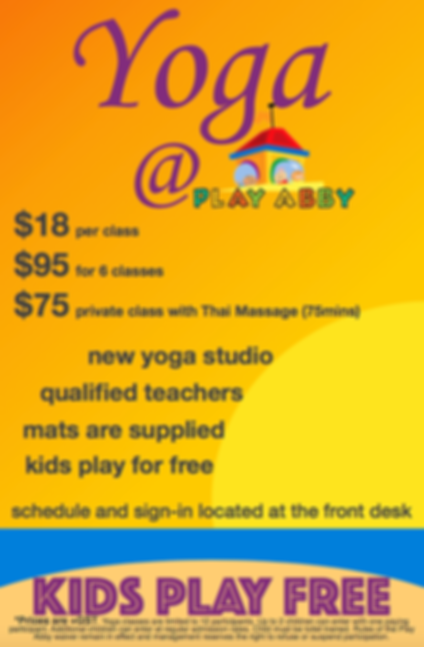 Yoga at Play Abby Activity Centre.
