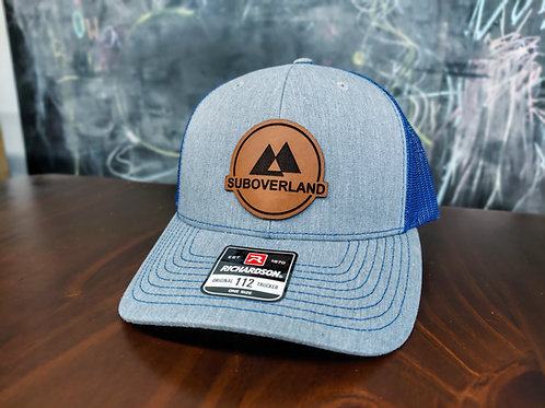 SUBOVERLAND Leather Patch Hat (Grey/Royal Blue)
