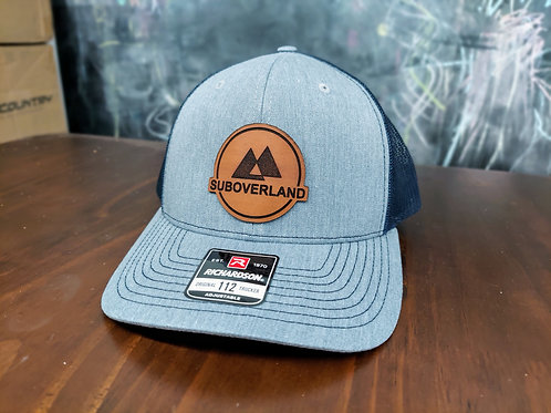 SUBOVERLAND Leather Patch Hat (Grey/Navy Blue)