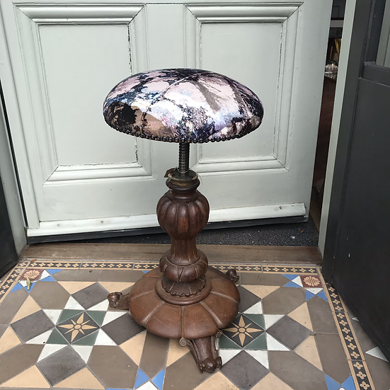 Adjustable walnut stool in velvet printed fabric