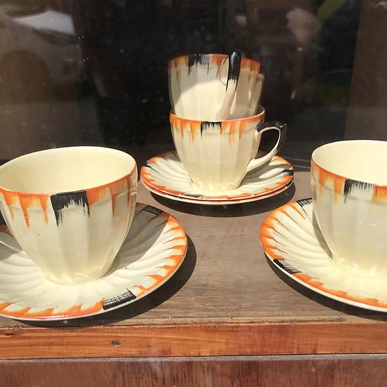 Art Deco Crown Ducal 4 cups & saucers