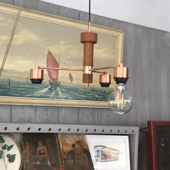 Teak and copper 70s ceiling light