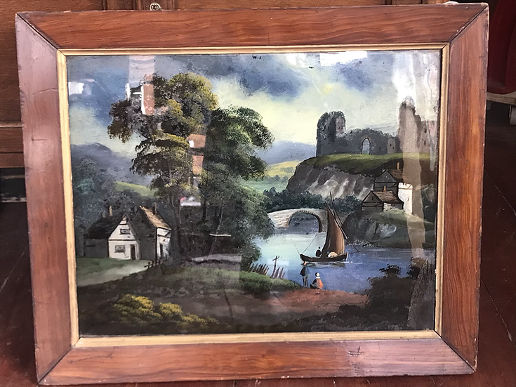 Dutch oil on glass painting