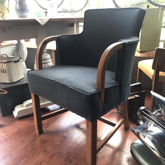 1930s Walnut Framed Tub Easy Chair