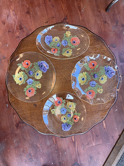 Chance Glass Anemone painted plates