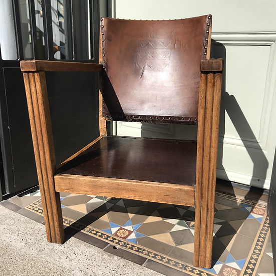Oak & Leather chair 1940/50s
