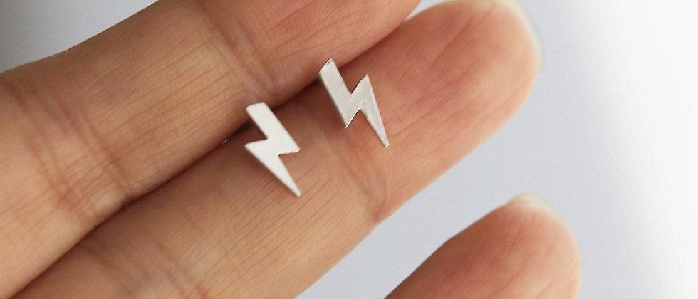 tiny Lightning bolt matte silver earrings