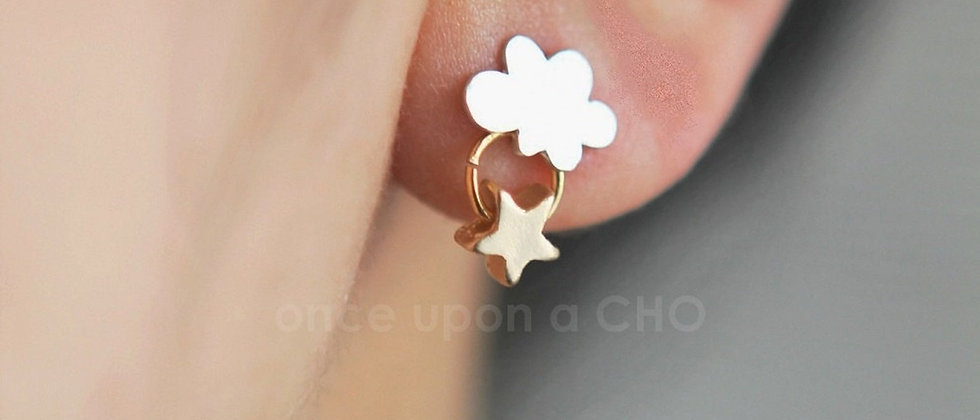 Sweet little Silver Cloud with Gold Star stud post earrings