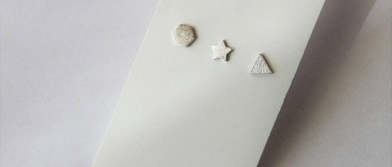 hexagon star triangle triple simple matte silver earrings set