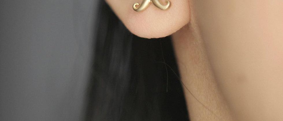 tiny little blonde Mustache Earrings