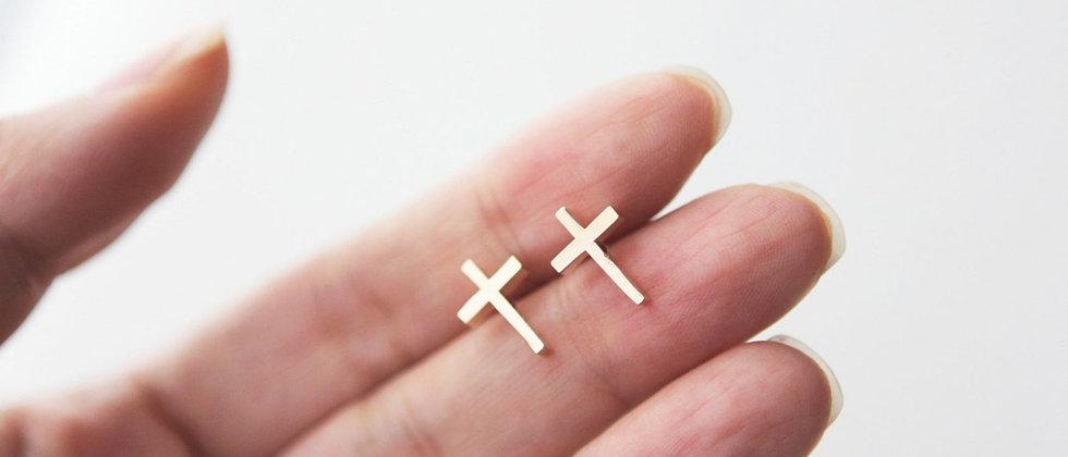 small cross stud earrings