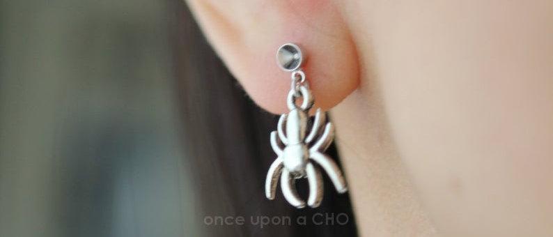 simple Spider earrings on Titanium hook or stud